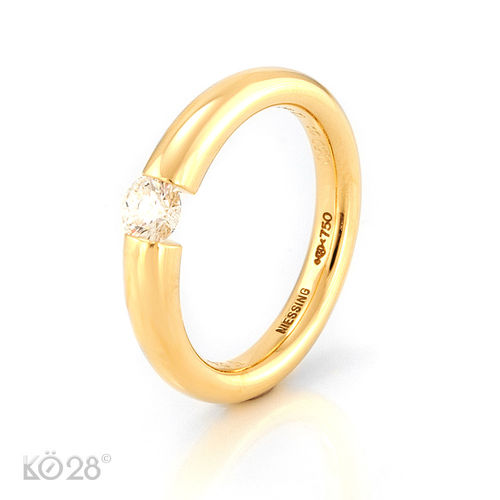 NIESSING  Ring 750/- Gelbgold Solitär Brillant 0,50 ct. G/si GIA Gr. 60 (21485)