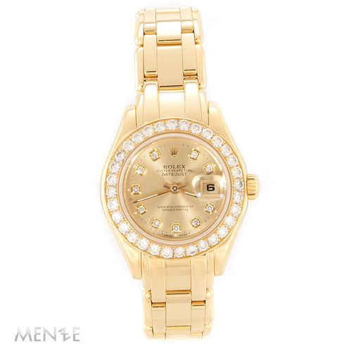 Rolex Lady Pearlmaster 69318 Sunray Diamanten Gelbgold 29 mm 11/1997 (12037)