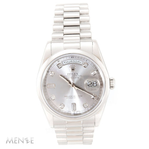 Rolex Day-Date 118206 Platin Silver Diamond Dial 36 mm B+P 02/2004 LC100 (12379)