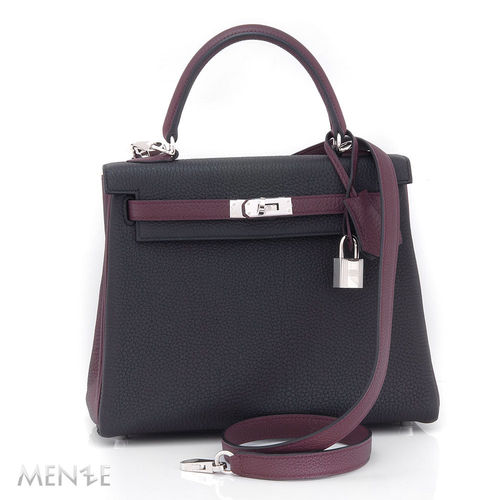 Hermès Hermes Kelly Bag 25 Togo Lether Schwarz / Bordeaux Ungetragen (21909)