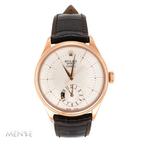 Rolex Cellini Dual Time 50525 Roségold on Strap 39mm B+P 11/2019 unworn (12835)