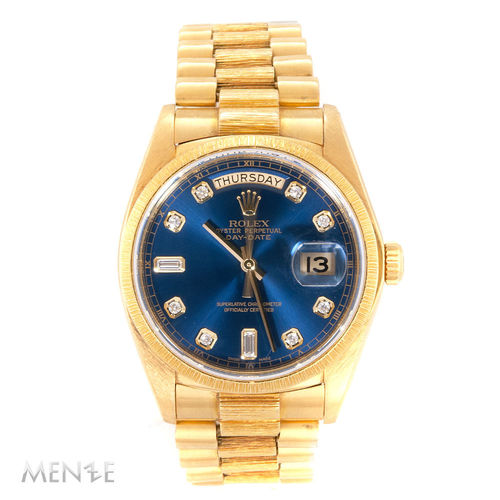 Rolex Day-Date 18078 Borke Gelbgold Gold Blue Degrade Dial ca. 1980 (12909)