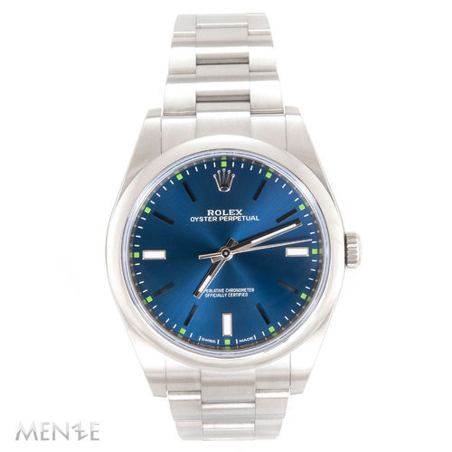 Rolex Oyster Perpetual 39 114300 Edelstahl Blue Dial B+P 01/2018 (12927)