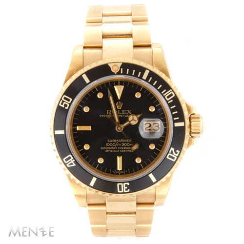 Rolex Submariner Date 16808 Gelbgold Black Nipple Dial 6-Serie ca. 1981 unpolished (12977)