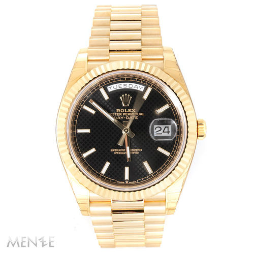 Rolex Day-Date 228238 Gelbgold 40 mm Black Diagonal Dial B+P 10/2019 (13216)